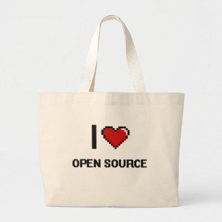 I Love Open Source Digital Retro Design Jumbo Tote Bag