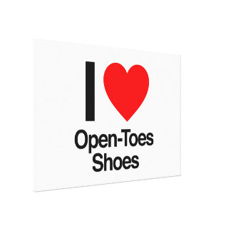 i love open-toes shoes stretched canvas print