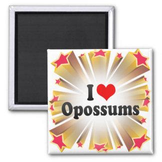 I Love Opossums Square Magnet