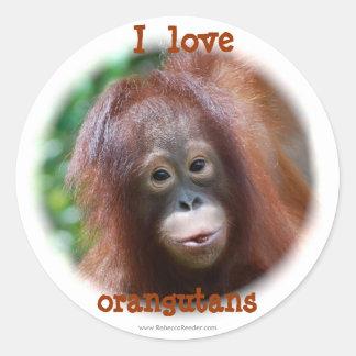 I love orangutans classic round sticker
