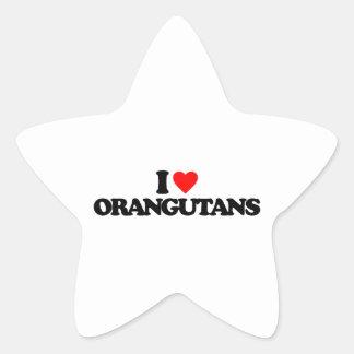 I LOVE ORANGUTANS STAR STICKERS