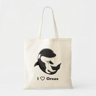I Love Orcas Cute Killer Whale Tote Bag