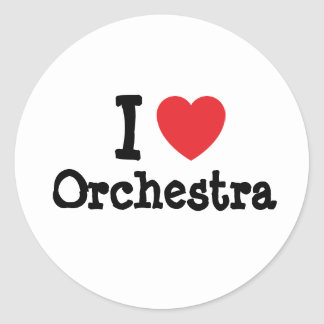 I love Orchestra heart custom personalized Round Sticker