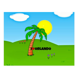 I Love Orlando, Palm Tree and Sunshine Postcard