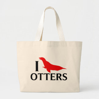I Love Otters, I Love Sea Lions Large Tote Bag