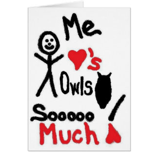 I Love Owls Cartoon Card