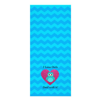 I love owls deal with it blue chevrons full color rack card
