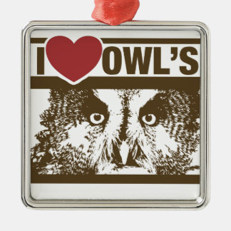 I Love Owls Silver-Colored Square Decoration