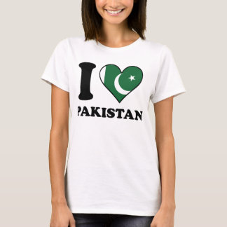 I Love Pakistan Pakistani Flag Heart T-Shirt