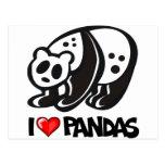 I Love Pandas Postcards