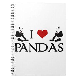 I Love Pandas Spiral Note Books