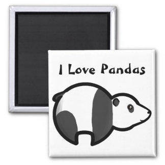 I Love Pandas Square Magnet