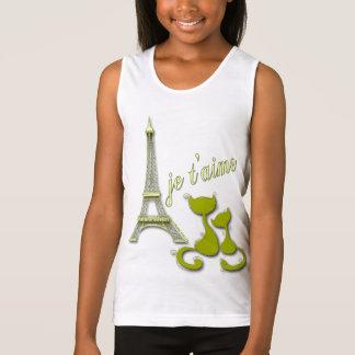 I Love Paris Elegant Olive Eiffel Tower And Cats T Shirt