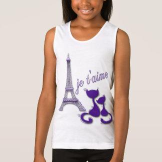 I Love Paris Elegant Purple Eiffel Tower And Cats Tee Shirts