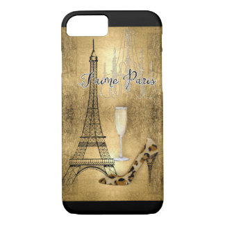 I Love Paris Gold Leaf Eiffel Tower Fashion Shoes iPhone 7 Case