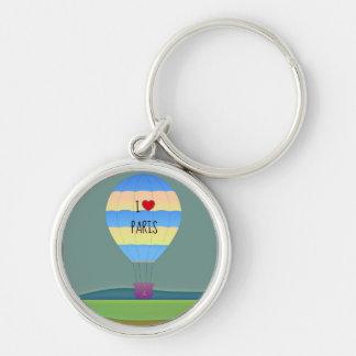 I Love Paris Hot Air Balloon Silver-Colored Round Key Ring