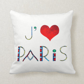 I Love Paris in Notre Dame Stained Glass Cushion