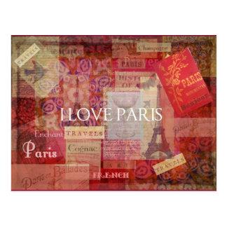 I Love Paris VINTAGE ART Postcard