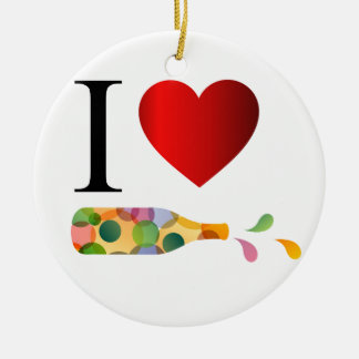 I love party or alcohol round ceramic decoration
