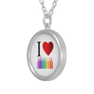I love party or alcohol silver plated necklace