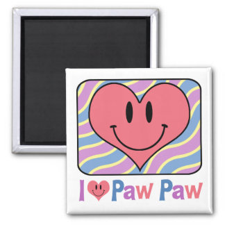 I Love Paw Paw Square Magnet
