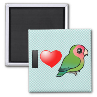 I Love Peach-faced Lovebirds Square Magnet
