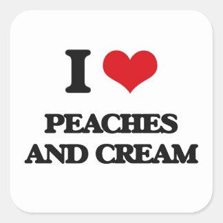 I love Peaches And Cream Square Sticker
