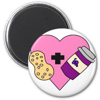 I love Peanut Butter and Jelly 6 Cm Round Magnet