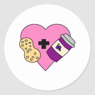 I love Peanut Butter and Jelly Round Sticker