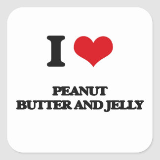 I love Peanut Butter And Jelly Square Sticker