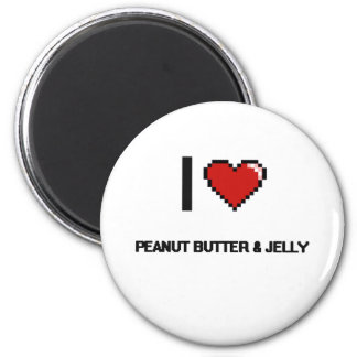 I Love Peanut Butter & Jelly 6 Cm Round Magnet