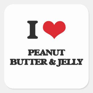 I Love Peanut Butter & Jelly Square Sticker