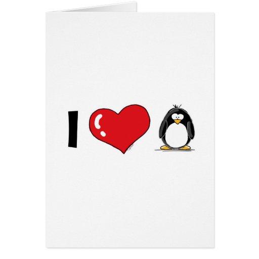 I Love Penguins Greeting Card