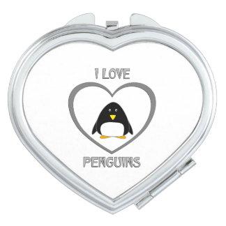 I Love Penguins Makeup Mirror