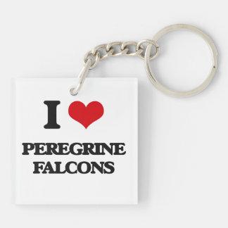 I love Peregrine Falcons Square Acrylic Key Chains