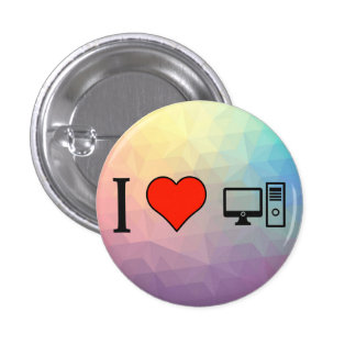 I Love Personal Computers 3 Cm Round Badge