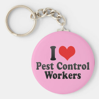 I Love Pest Control Workers Basic Round Button Key Ring