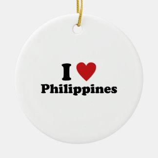 I Love Philippines Round Ceramic Decoration