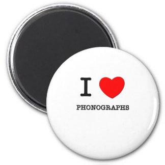 I Love Phonographs 6 Cm Round Magnet