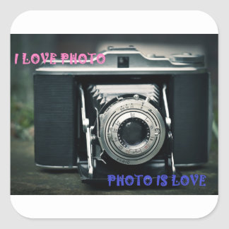 I LOVE PHOTO PHOTO IS LOVE SQUARE STICKER