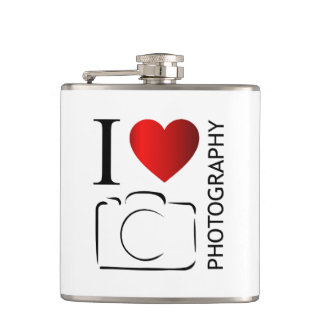 I love photography hip flask