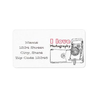 I Love Photography Retro Camera Address Label