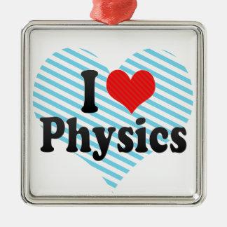 I Love Physics Metal Ornament