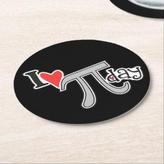 I Love Pi Day Round Paper Coaster