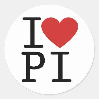 I Love PI (Sticker) Classic Round Sticker
