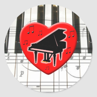I Love Piano Classic Round Sticker
