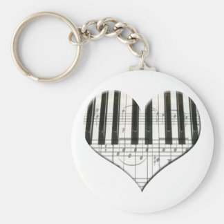 I Love Piano or Organ Music Heart Keyboard Key Ring