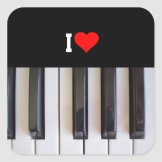 I Love Piano Square Sticker