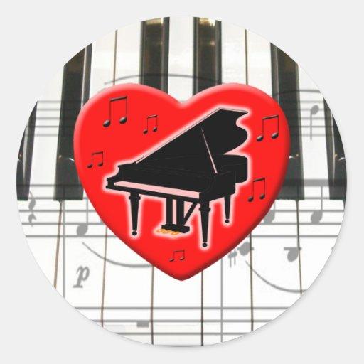 I Love Piano Round Stickers
