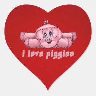 I Love Piggies Heart Sticker